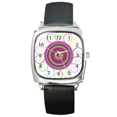 Abstract Spiral Circle Rainbow Color Square Metal Watch by Alisyart