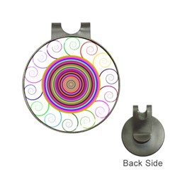 Abstract Spiral Circle Rainbow Color Hat Clips With Golf Markers by Alisyart
