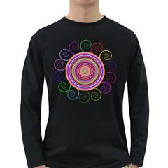 Abstract Spiral Circle Rainbow Color Long Sleeve Dark T Shirts by Alisyart
