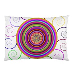 Abstract Spiral Circle Rainbow Color Pillow Case by Alisyart