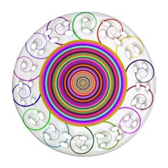 Abstract Spiral Circle Rainbow Color Round Filigree Ornament (two Sides) by Alisyart