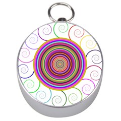 Abstract Spiral Circle Rainbow Color Silver Compasses by Alisyart