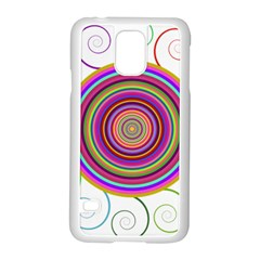 Abstract Spiral Circle Rainbow Color Samsung Galaxy S5 Case (white) by Alisyart