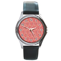Circle Red Freepapers Paper Round Metal Watch by Alisyart