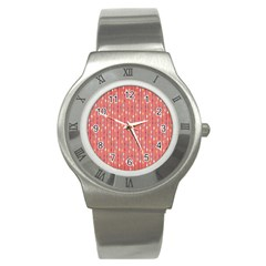 Circle Red Freepapers Paper Stainless Steel Watch by Alisyart