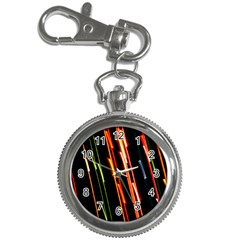 Colorful Diagonal Lights Lines Key Chain Watches by Alisyart