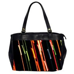 Colorful Diagonal Lights Lines Office Handbags (2 Sides)  by Alisyart