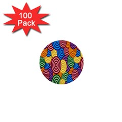 Circles Color Yellow Purple Blu Pink Orange Illusion 1  Mini Buttons (100 Pack)  by Alisyart