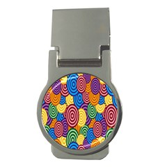 Circles Color Yellow Purple Blu Pink Orange Illusion Money Clips (round)