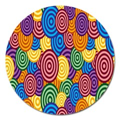 Circles Color Yellow Purple Blu Pink Orange Illusion Magnet 5  (round) by Alisyart