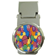 Circles Color Yellow Purple Blu Pink Orange Illusion Money Clip Watches