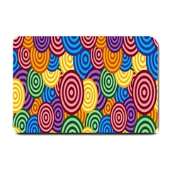 Circles Color Yellow Purple Blu Pink Orange Illusion Small Doormat  by Alisyart