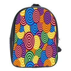 Circles Color Yellow Purple Blu Pink Orange Illusion School Bags(large)  by Alisyart