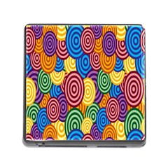 Circles Color Yellow Purple Blu Pink Orange Illusion Memory Card Reader (square) by Alisyart