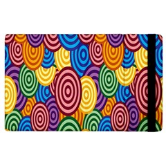 Circles Color Yellow Purple Blu Pink Orange Illusion Apple Ipad 2 Flip Case by Alisyart