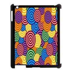 Circles Color Yellow Purple Blu Pink Orange Illusion Apple Ipad 3/4 Case (black) by Alisyart