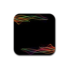 Colorful Light Frame Line Rubber Square Coaster (4 Pack)  by Alisyart