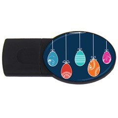 Easter Egg Balloon Pink Blue Red Orange Usb Flash Drive Oval (4 Gb) by Alisyart