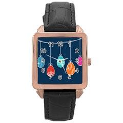 Easter Egg Balloon Pink Blue Red Orange Rose Gold Leather Watch  by Alisyart