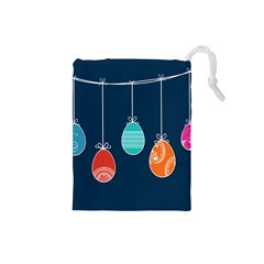 Easter Egg Balloon Pink Blue Red Orange Drawstring Pouches (small)  by Alisyart
