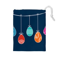 Easter Egg Balloon Pink Blue Red Orange Drawstring Pouches (large)  by Alisyart