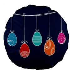 Easter Egg Balloon Pink Blue Red Orange Large 18  Premium Flano Round Cushions by Alisyart