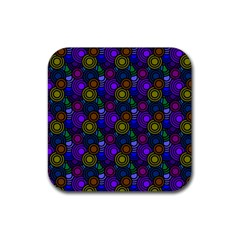 Circles Color Yellow Purple Blu Pink Orange Rubber Square Coaster (4 Pack)  by Alisyart