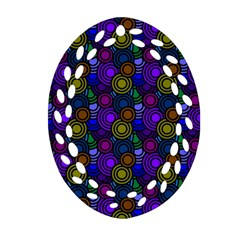 Circles Color Yellow Purple Blu Pink Orange Oval Filigree Ornament (two Sides) by Alisyart