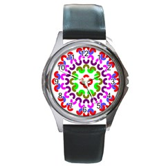 Decoration Red Blue Pink Purple Green Rainbow Round Metal Watch by Alisyart