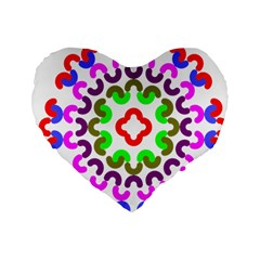 Decoration Red Blue Pink Purple Green Rainbow Standard 16  Premium Flano Heart Shape Cushions by Alisyart