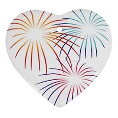 Fireworks Orange Blue Red Pink Purple Ornament (heart) by Alisyart