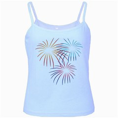 Fireworks Orange Blue Red Pink Purple Baby Blue Spaghetti Tank by Alisyart