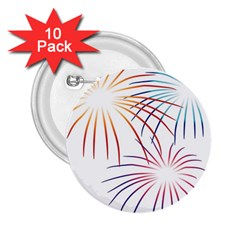 Fireworks Orange Blue Red Pink Purple 2 25  Buttons (10 Pack)  by Alisyart