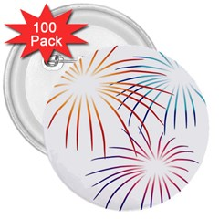 Fireworks Orange Blue Red Pink Purple 3  Buttons (100 Pack)  by Alisyart