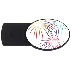 Fireworks Orange Blue Red Pink Purple Usb Flash Drive Oval (4 Gb) by Alisyart