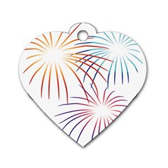 Fireworks Orange Blue Red Pink Purple Dog Tag Heart (two Sides) by Alisyart