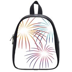 Fireworks Orange Blue Red Pink Purple School Bags (small)  by Alisyart