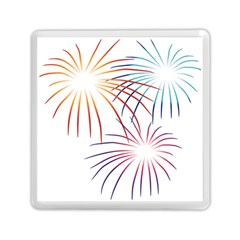 Fireworks Orange Blue Red Pink Purple Memory Card Reader (square)  by Alisyart