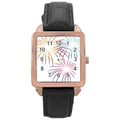Fireworks Orange Blue Red Pink Purple Rose Gold Leather Watch  by Alisyart