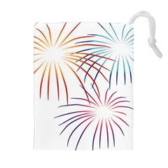 Fireworks Orange Blue Red Pink Purple Drawstring Pouches (extra Large) by Alisyart