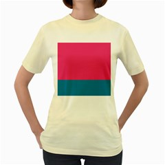 Flag Color Pink Blue Women s Yellow T Shirt by Alisyart