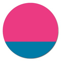 Flag Color Pink Blue Magnet 5  (round) by Alisyart