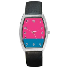 Flag Color Pink Blue Barrel Style Metal Watch by Alisyart