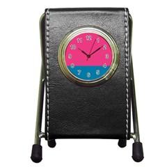 Flag Color Pink Blue Pen Holder Desk Clocks by Alisyart