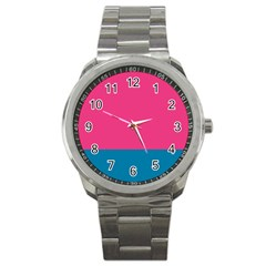 Flag Color Pink Blue Sport Metal Watch by Alisyart