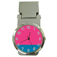 Flag Color Pink Blue Money Clip Watches by Alisyart