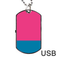Flag Color Pink Blue Dog Tag Usb Flash (two Sides) by Alisyart