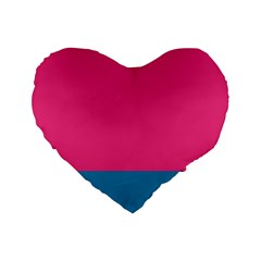 Flag Color Pink Blue Standard 16  Premium Heart Shape Cushions by Alisyart