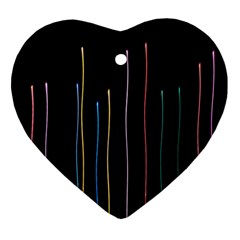 Falling Light Lines Color Pink Blue Yellow Ornament (heart) by Alisyart