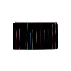 Falling Light Lines Color Pink Blue Yellow Cosmetic Bag (small)  by Alisyart